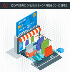 online shopping isometric icons vector image vector image
