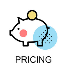 Piggy bank icon for pricing vector