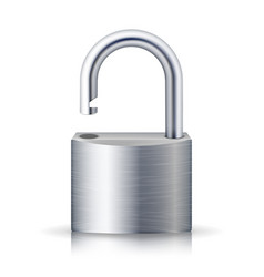 realistic unlocked padlock metal lock for vector image vector image
