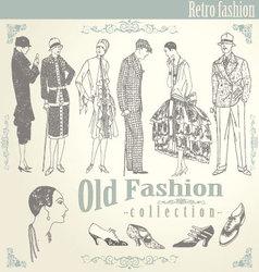 Retro fashion set vector