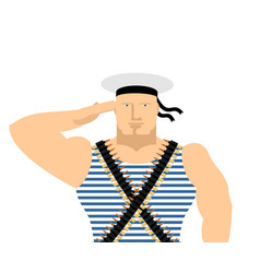 Sailor in striped vest and peakless cap february vector