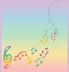 set of musical notes on a five-line clock colors vector image vector image