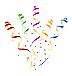 Surprise party streamers with confetti vector