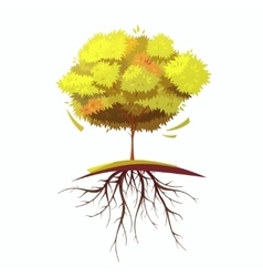 Tree With Root Retro Cartoon vector image vector image