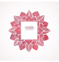 Watercolor pink frame with lace floral pattern vector