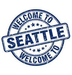 Welcome to seattle blue round vintage stamp vector