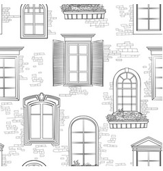 window seamless doodle pattern different vector image