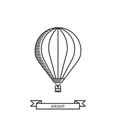 Dirigible and hot air balloons airship vector