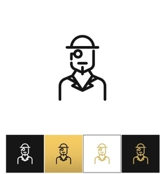 Vintage gentleman logo or retro hat man silhouette vector