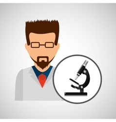 Character scientist chemistry micrsocope element vector