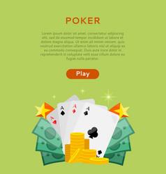 Pocker online games dice casino banners set vector