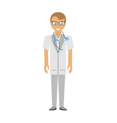 Doctor man glasses coat and stethoscope vector