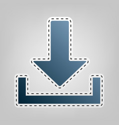 Download sign   blue icon with vector