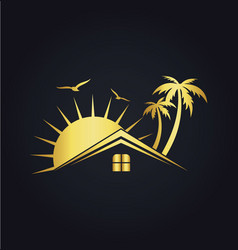 Hotel house tropic sunset gold logo vector