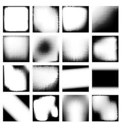 Monochrome halftone effects design backgrounds set vector