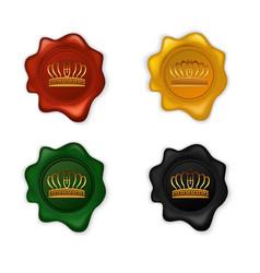 Crown wax seal set vector