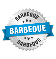 Barbeque 3d silver badge with blue ribbon vector
