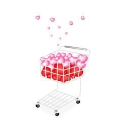 Lovely little hearts in a shopping cart vector
