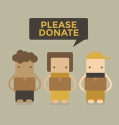 Please donate boy and girl vector