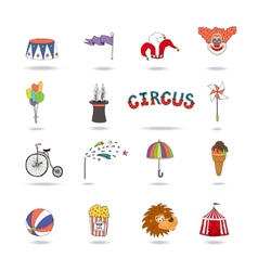 Set of colorful circus icons vector