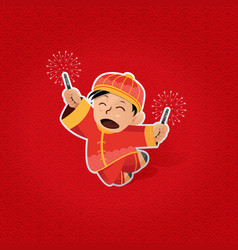 Chinese boy celebrating chinese new year vector
