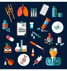 Medical flat icons with medication and diagnostics vector