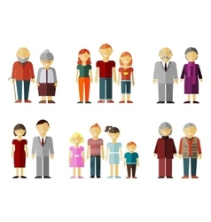 Set of flat family vector
