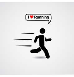 Running icon with text - i love running vector