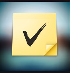 Yellow stick note with tick sign vector