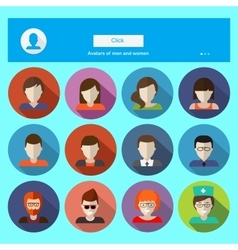 Set of male and female faces avatars icons vector