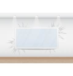 Blank frame in the gallery on the wall vector