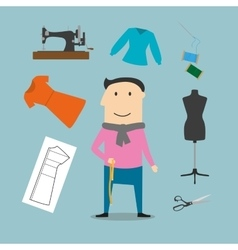 Tailor with sewing tools icons vector