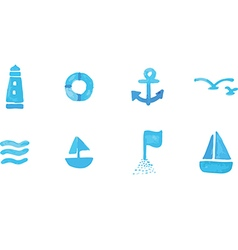 Seamless of sea subject and symbols vector image