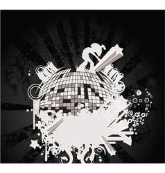 Concert poster with discoball vector
