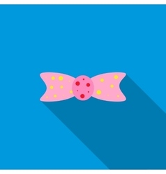 Pink bow tie icon  flat style vector