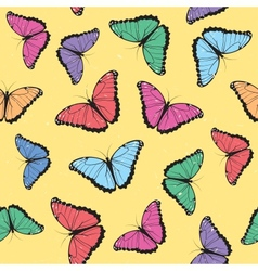 Color butterflies seamless pattern vector