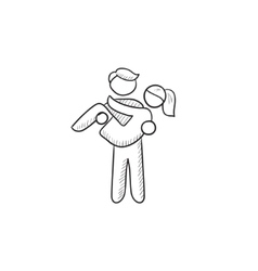 Man carrying his girlfriend sketch icon vector