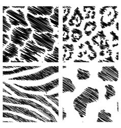 wild animal abstract backgrounds set vector image