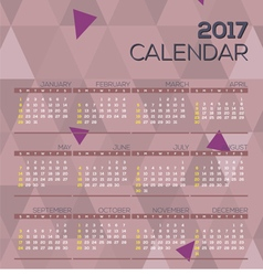 Modern abstract 2017 printable calendar vector