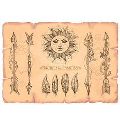 arrows sun and feathers a set of cards in the vector image vector image