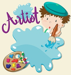 Artist with paintbrush and palette vector