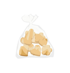 Bakery cookies in plastic bag vector