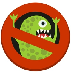 Ban sign to virus aggression vector image
