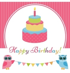 Birthday card with cake and two owls vector image vector image