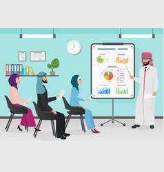 Business arab muslim people having board vector