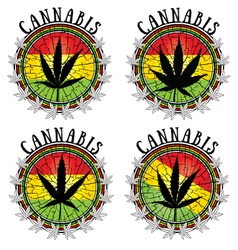 Cannabis leaf design jamaican flag background vector