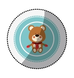 Color circle with middle shadow sticker with teddy vector