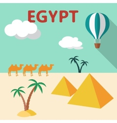 Egypt travel flat design with palm tree pyramids vector