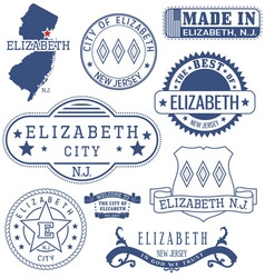 Elizabeth city new jersey stamps and seals vector