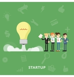 Entrepreneurs maintain launching startup concept vector image
